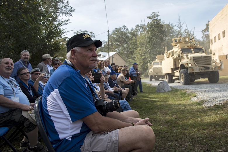 Members of the Safeside Association watch a demonstration by the 820th Base Defense Group, during a Safeside reunion Nov.8,2017, at Moody Air Force Base, Ga. Biennially, the Safeside Association holds a reunion to interact with and honor their past and present comrades from the 820th Base Defense Group. (U.S. Air Force photo by Airman Eugene Oliver)