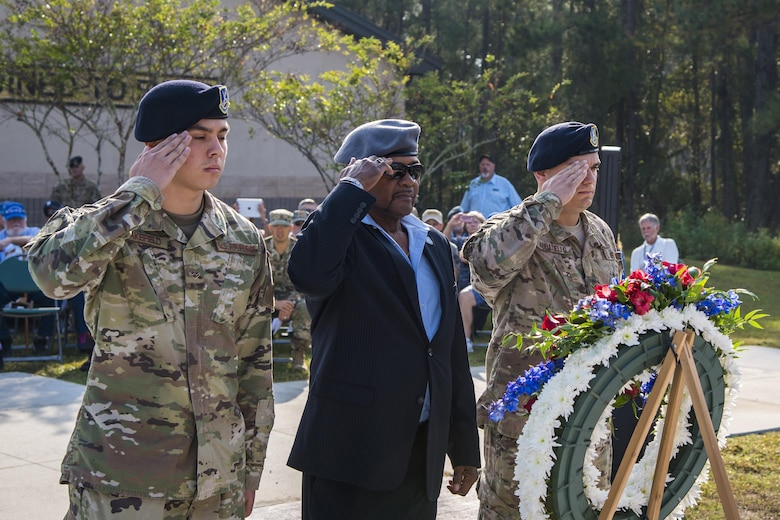 Members of the Safeside Association and 820th Base Defense Group, render a salute during a Safeside reunion memorial, Nov.8, 2017, at Moody Air Force Base, Ga. Biennially, the Safeside Association holds a reunion to interact with and honor their past and present comrades from the 820th Base Defense Group. (U.S. Air Force photo by Airman Eugene Oliver)