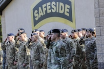 Members of the 823d Base Defense Squadron render a salute during a Safeside reunion memorial, Nov.8, 2017, at Moody Air Force Base, Ga. Biennially the Safeside Association holds a reunion to interact with and honor their past and present comrades from the 820th Base Defense Group. (U.S. Air Force photo by Airman Eugene Oliver)