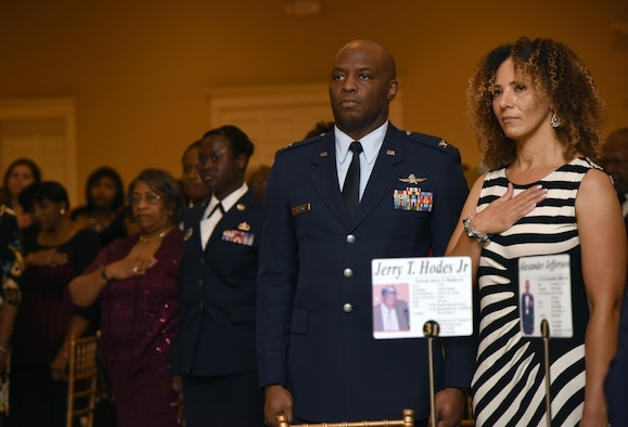 Col. Leo Lawson Jr., 81st Training Group commander, and his wife, Denise, attend the Tuskegee Airmen Inc. 8th Annual Benefit Gala at the Slavonian Lodge Nov. 4, 2017, in Biloxi, Mississippi. The event, which was held to raise funds for the Col. Lawrence E. Roberts Scholarships Fund, also included a silent auction and dinner. (U.S. Air Force photo by Kemberly Groue)