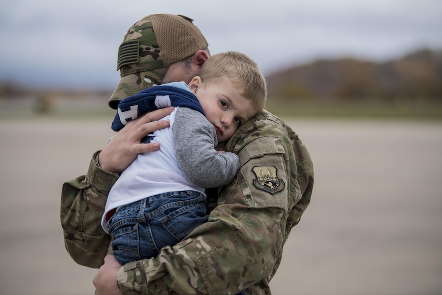 Members of the 130th Airlift Wing return from a deployment Nov. 6, 2017. Family and friends gathered at McLaughlin Air National Guard Base, W.Va. to welcome the men and women home from their tour in Southwest Asia. (U.S. Air National Guard photo by Capt. Holli Nelson)