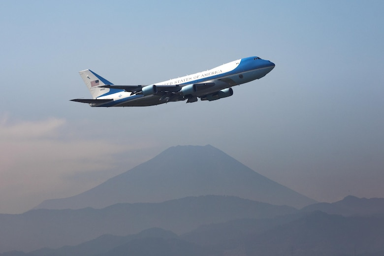 Air Force One departs Yokota Air Base, Japan, Nov. 7, 2017, after President of the United States Donald J. Trump's first visit Japan. Trump was in Japan for three days as part of a 12 day tour of the Indo-Asia Pacific region. (U.S. Air Force photo by Yasuo Osakabe)