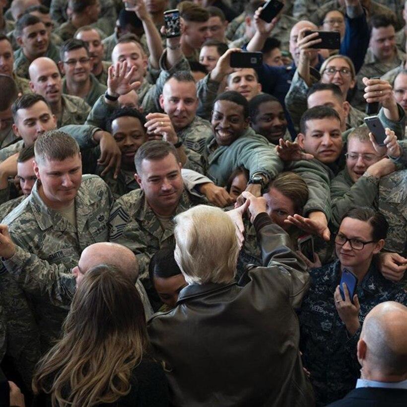 President Donald J. Trump greets service members from U.S. Forces Japan after a troop talk, Nov. 5, 2017 at Yokota Air Base, Japan. (U.S. Air Force photo by Airman 1st Class Juan Torres)