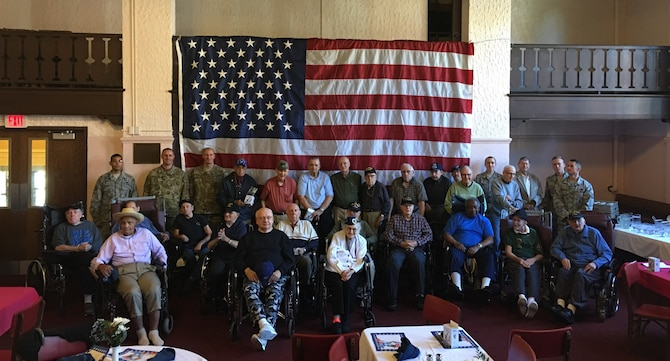 193rd Special Operations Security Forces Squadron Airmen pose with Veterans at the Middletown Home, Middletown, Pennsylvania, Oct. 17, 2017. This was the third year that 193rd SOSFS Airmen visited the home for a Veterans lunch. (U.S. Air National Guard Courtesy Photo/Released)