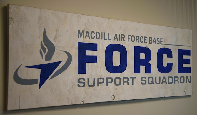 A handmade 6th Force Support Squadron (FSS) logo hangs in the office of U.S. Air Force Lt. Col. Sergio Rios, commander of the 6th FSS at MacDill Air Force Base, Fla., Nov. 8, 2017.