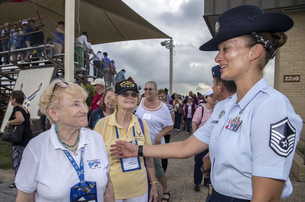 An Air Force training instructor thanks female veterans.