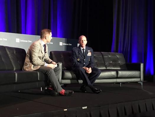 Defense One reporter Marcus Weisgerber speaks with Air Force Vice Chief of Staff Gen. Stephen W. Wilson at the Defense One Summit in Washington, Nov. 9, 2017. Wilson stressed the need for speed to counter global threats. (DoD photo by Jim Garamone)