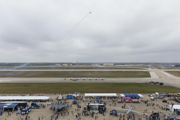 The Air Force displayed capabilities of their aircraft through aerial demonstrations and static displays.