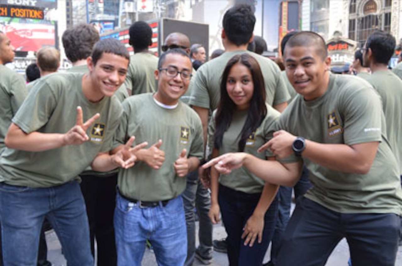 This group of Staten Island-based future soldiers shared in the excitement of the U.S. Army's 240th birthday celebration at the famous Times Square Recruiting Station in New York City.