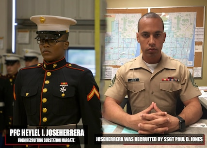 Private First Class Heylel I. JoseHerrera graduated Marine Corps recruit training Nov. 9, 2017, aboard Marine Corps Recruit Depot Parris Island, South Carolina. JoseHerrera was the Honor Graduate of platoon 3082. JoseHerrera was recruited by SSgt. Paul D. Jones from Recruiting Substation Margate. (U.S. Marine Corps photo illustration by SSgt. Jose O. Nava)