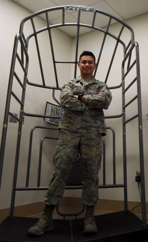 Senior Airman Rigel Bridge, 90th Medical Group physical medicine journeyman, poses for a photo on F.E. Warren Air Force Base, Wyo., Nov. 9, 2017. Bridge provides physical therapy assistance to wounded service members.
