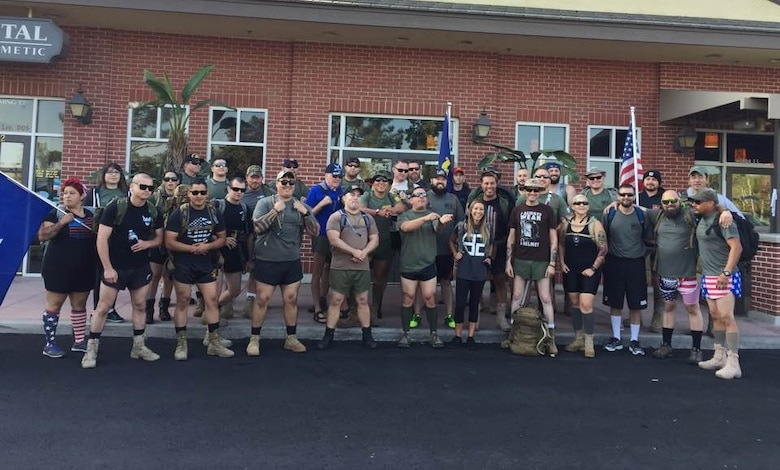 Silkies Hike participants pose for a photo Oct. 21 in Bakersfield, California. The hike brought veterans for a 22-kilometer ruck march through town to bring awareness to the 22 veteran daily suicides. (Courtesy photo)