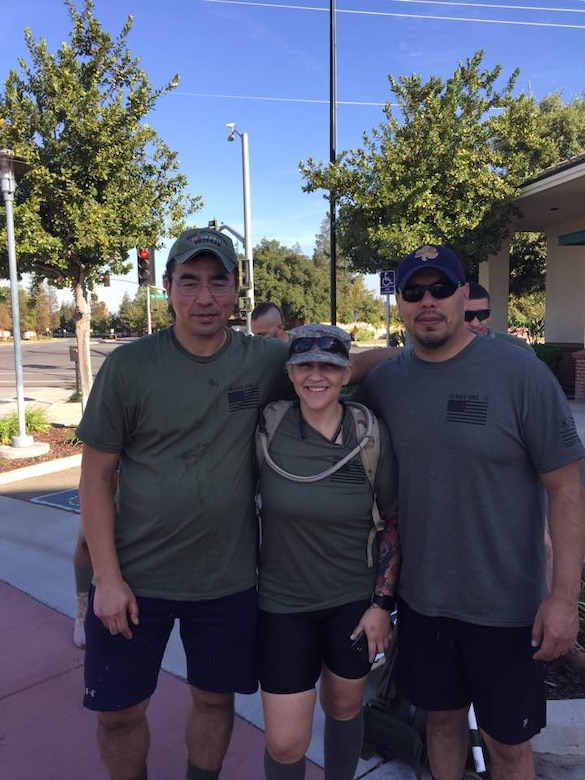 Lt. Col. Susumu Uchiyama (left) poses with two veterans during the Silkies Hike Oct. 21 in Bakersfield, California. Uchiyama is the 940th Mission Support Group deputy commander at Beale Air Force Base, California. (Courtesy photo)