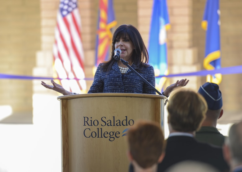 Dr. Maria Harper-Marinick, Maricopa Community Colleges chancellor, speaks to a crowd of visitors at the grand opening of the Military and Veteran Success Center at Luke Air Force Base, Ariz., Nov. 9, 2017. The MVSC is a community supported, case-managed, holistic support center for transitioning service members, veterans and their dependents. (U.S. Air Force photo/Airman 1st Class Caleb Worpel)