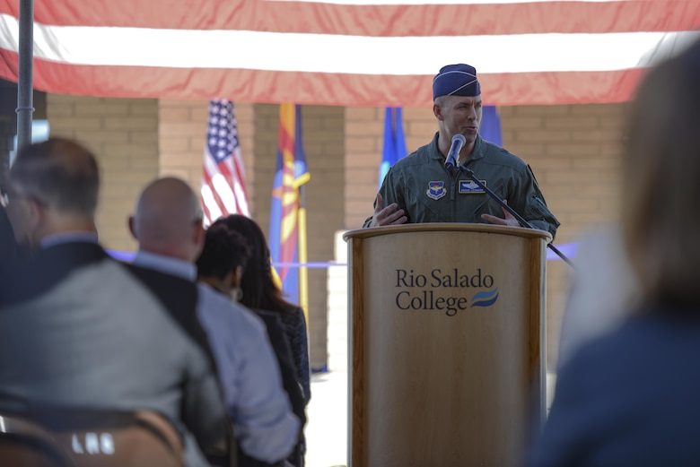 Brig. Gen. Brook Leonard, 56th Fighter Wing commander, speaks to a crowd of visitors at the grand opening of the Military and Veteran Success Center at Luke Air Force Base, Ariz., Nov. 9, 2017. The MVSC leverages the support of over 40,000 veteran supportive organizations to offer individualized resources to veterans and their dependents in employment, education, social support, physical health, housing, mental health, finances, benefit information and more. (U.S. Air Force photo/Airman 1st Class Caleb Worpel)