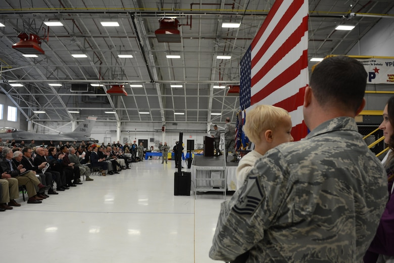 Airmen of the 115th Fighter Wing Airmen were welcomed home by family and friends in a ceremony held today at Truax Field in Madison, Wis. November 8, 2017.  Approximately 270 Airmen and 12  F-16 Fighting Falcons were deployed to Kunsan Air Base, Republic of Korea for three months training under the direction of the 8th Fighter Wing at Kunsan as part of a Pacific Air Force Theater Security Package deployment.
