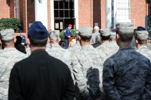 Chief Master Sgt. Bradley Reilly, 14th Operations Group Superintendent, speaks to a crowd during a Veterans Day ceremony Nov. 11, 2017, in Columbus, Mississippi. Reilly was the guest speaker for the ceremony, which also included a parade beforehand. (U.S. Air Force photo by Staff Sgt. Christopher Gross)
