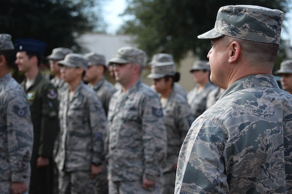 Col. Guy Majkowski, 14th Medical Group Commander, commands a flight of Airmen Nov. 11, 2017, before a Veterans Day parade at the Columbus Municipal Complex in Columbus, Mississippi. Following the parade was a ceremony which included a wreath laying ceremony, flyover and participation from Columbus Air Force Base and West Lowndes High School Air Force Junior ROTC Honor Guard. (U.S. Air Force photo by Airman 1st Class Keith Holcomb)