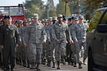 Airmen from Columbus Air Force Base, Mississippi, march during a Veterans Day parade Nov. 11, 2017, in Columbus, Mississippi. Airmen from many squadrons on base participated in the parade as well as the wreath laying ceremony that took place shortly afterward. (U.S. Air Force photo by Airman 1st Class Keith Holcomb)