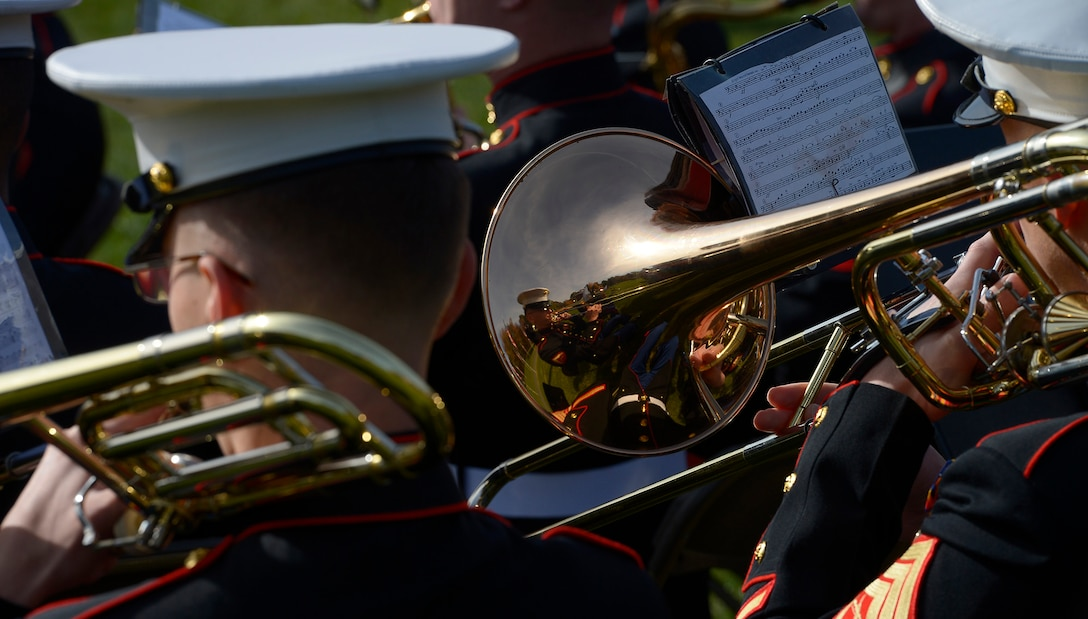 Members of the Quantico Marine Band perform during a Veterans Day ceremony at Quantico National Cemetery in Quantico, Va., Nov. 11, 2017. The Veterans Day ceremony is an annual event hosted by the Potomac Region Veterans Council. The event featured a performance by the Quantico Marine Corps Band. (U.S. Air Force photo by Tech. Sgt. Dan DeCook)