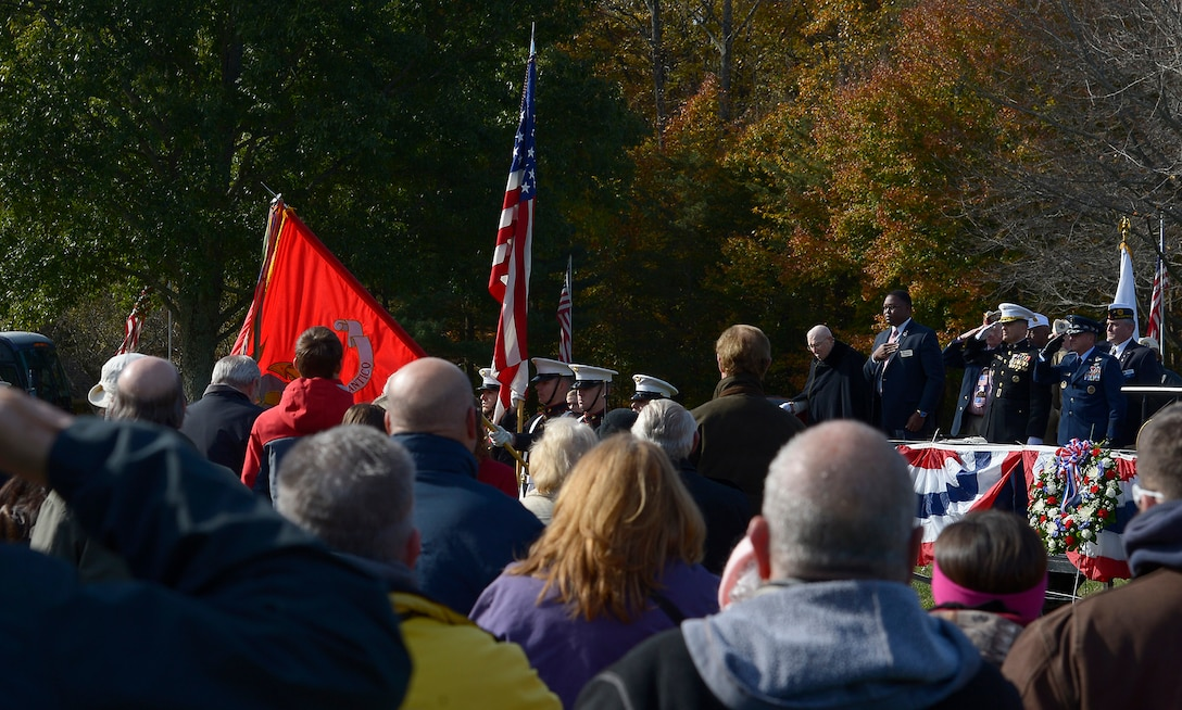 Members of a color guard from Quantico Marine Corps Base present the colors during a Veterans Day ceremony at Quantico National Cemetery in Quantico, Va., Nov. 11, 2017. The Veterans Day ceremony is an annual event hosted by the Potomac Region Veterans Council. The event featured a performance by the Quantico Marine Corps Band. (U.S. Air Force photo by Tech. Sgt. Dan DeCook)