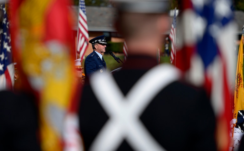 Air Force Chief of Staff Gen. David L. Goldfein delivers the keynote speech during a Veterans Day ceremony at Quantico National Cemetery in Quantico, Va., Nov. 11, 2017. The Veterans Day ceremony is an annual event hosted by the Potomac Region Veterans Council. The event featured a performance by the Quantico Marine Corps Band.  (U.S. Air Force photo by Tech. Sgt. Dan DeCook)