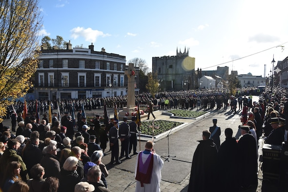 U.S. Airmen stationed at RAF Lakenheath and RAF Mildenhall march in a Remembrance Day parade in Bury St. Edmunds, Suffolk, England, Nov. 12, 2017. Members of the U.S. Air Force and Royal Air Force, civic leaders, military cadets and others also participated. They gathered around the town square with a crowd of supporters to offer prayers and thanks to those soldiers who sacrificed their lives during the wars. (U.S. Air Force photo by Senior Airman Kelly O'Connor)