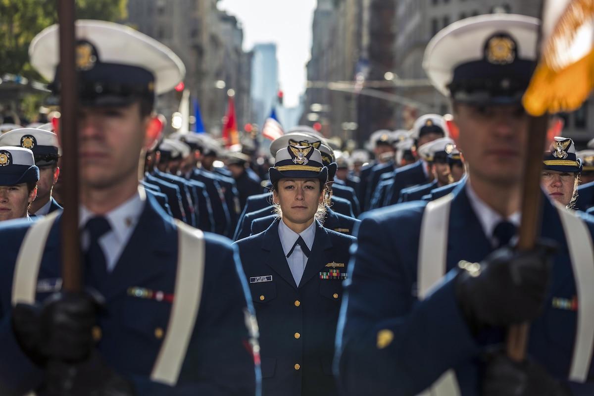 Service members face forward.