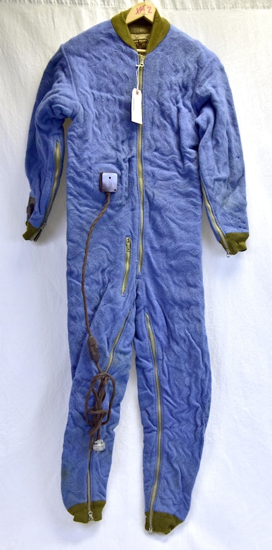 "Plans call for this artifact to be displayed near the B-17F Memphis Belle™ as part of the new strategic bombardment exhibit in the WWII Gallery, which opens to the public on May 17, 2018. F-1 ""Blue Bunny"" electrically-heated suit. The first type used by bomber crews, its internal wires often broke in use, shocking the wearer."