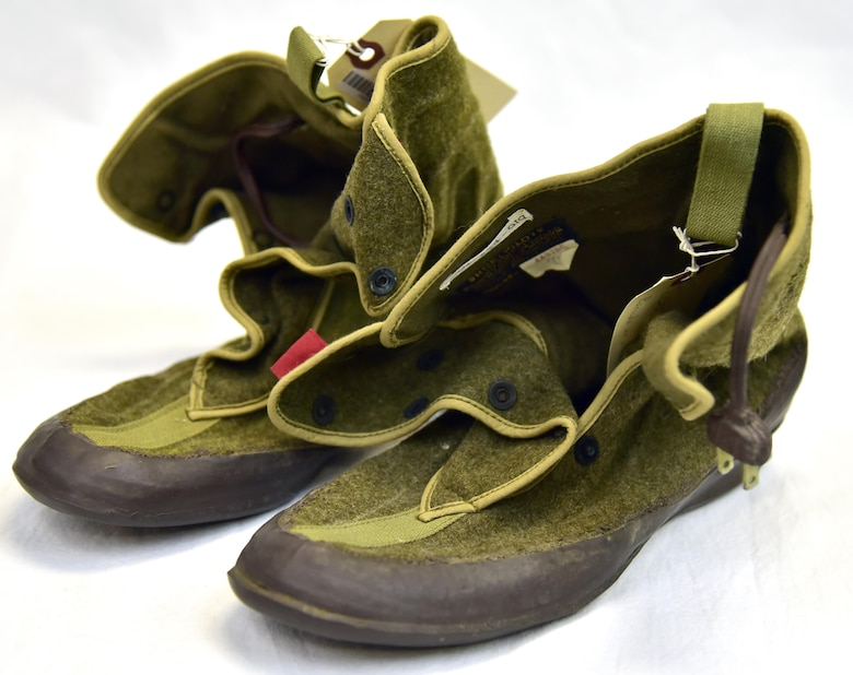 Plans call for this artifact to be displayed near the B-17F Memphis Belle™ as part of the new strategic bombardment exhibit in the WWII Gallery, which opens to the public on May 17, 2018. Electrically-heated shoe inserts used to combat the bitter cold, which dropped to as low as -50°F at high altitude (20-30,000 feet).