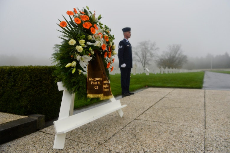 A wreath is displayed during a Veterans Day ceremony at Henri-Chapelle American Cemetery and Memorial, Belgium, Nov. 11, 2017. The event was attended by both U.S. and Belgian civilians as well as members of the American Legion. (U.S. Air Force photo by Airman 1st Class Joshua Magbanua)