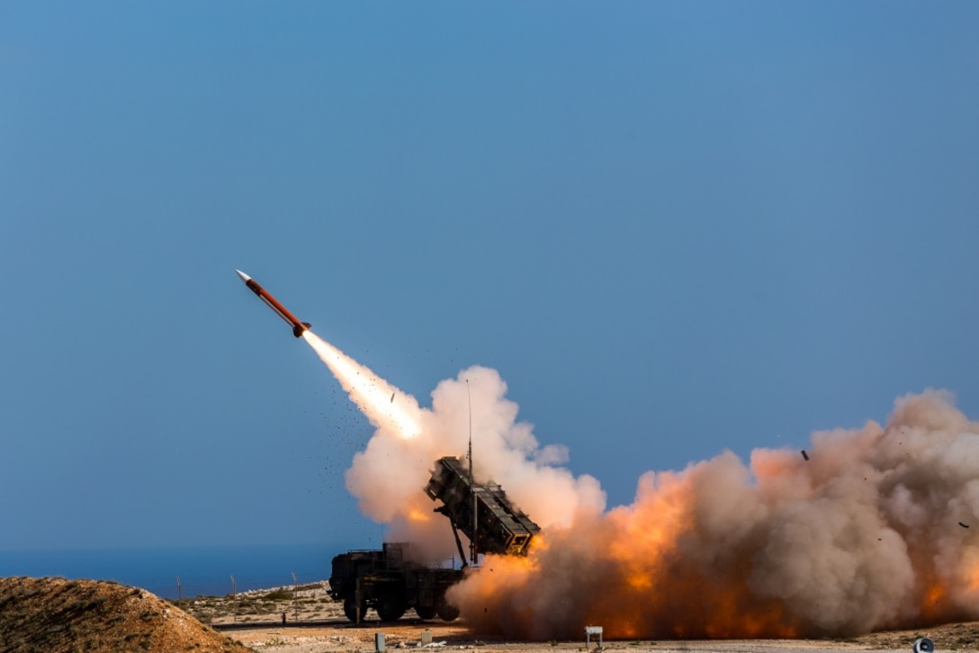 German soldiers assigned to Surface Air and Missile Defense Wing 1 fire the Patriot air defense missiles at the NATO Missile Firing Installation during Exercise Artemis Strike 2017 in Chania, Greece.