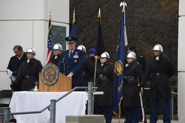 U.S. Air Force Gen. John Hyten, commander of U.S. Strategic Command, delivers remarks during a Veterans Day ceremony at Memorial Park in Omaha, Neb., Nov. 11, 2017. More than 200 people attended the ceremony to honor the service and sacrifice of American veterans and their families.