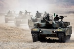 Republic of Korea tanks with the 1st Marine Division head a firing line during a Korea Marine Exercise Program in Pohang, South Korea. Exchange agreements between the U.S. and South Korea governments allow DLA to provide items and fuel to the South Korean military.