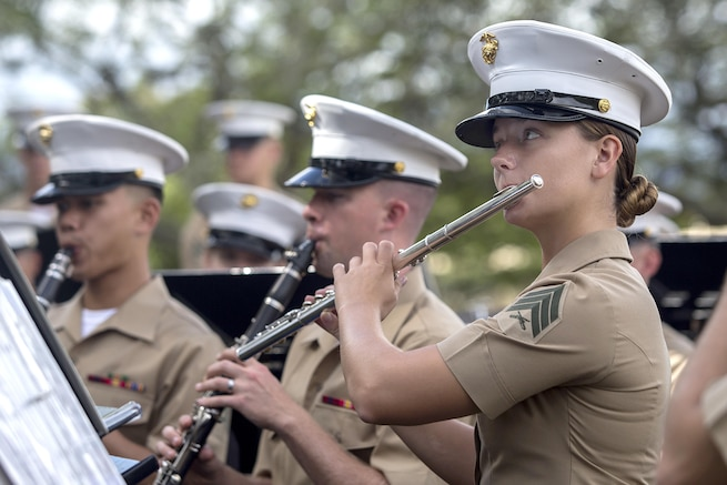 Marines play instruments while seated.