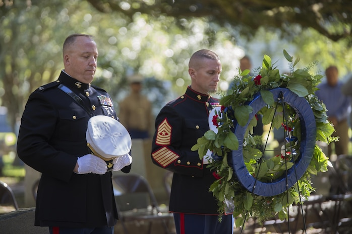 Col. Chris Steinhilber (left), 4th Marine Division chief of staff, and Sgt. Maj. Michael A. Miller (right), 4th MARDIV sergeant major, pay their respects during the invocation given at the annual wreath laying ceremony for Gen. Robert H. Barrow, the 27th Commandant of the Marine Corps, at Grace Church of West Feliciana, in Saint Francisville, La., Nov. 10, 2017.