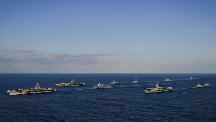 The USS Ronald Reagan, USS Theodore Roosevelt and USS Nimitz Strike Groups transit the Western Pacific.