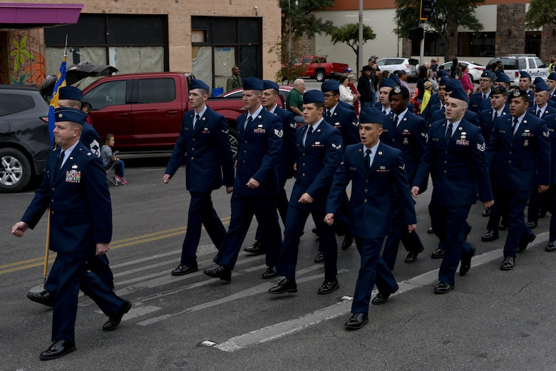 Members from the 17th Mission Support Group march during the Veteran's Day parade in San Angelo, Texas, Nov. 11, 2017. Over 400 military members participated in the parade.