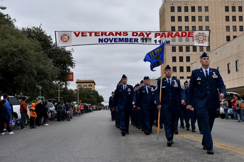 Members from the 315th Training Squadron march during the Veteran's Day parade in San Angelo, Texas, Nov. 11, 2017. The parade featured veterans, active duty members and marching bands.