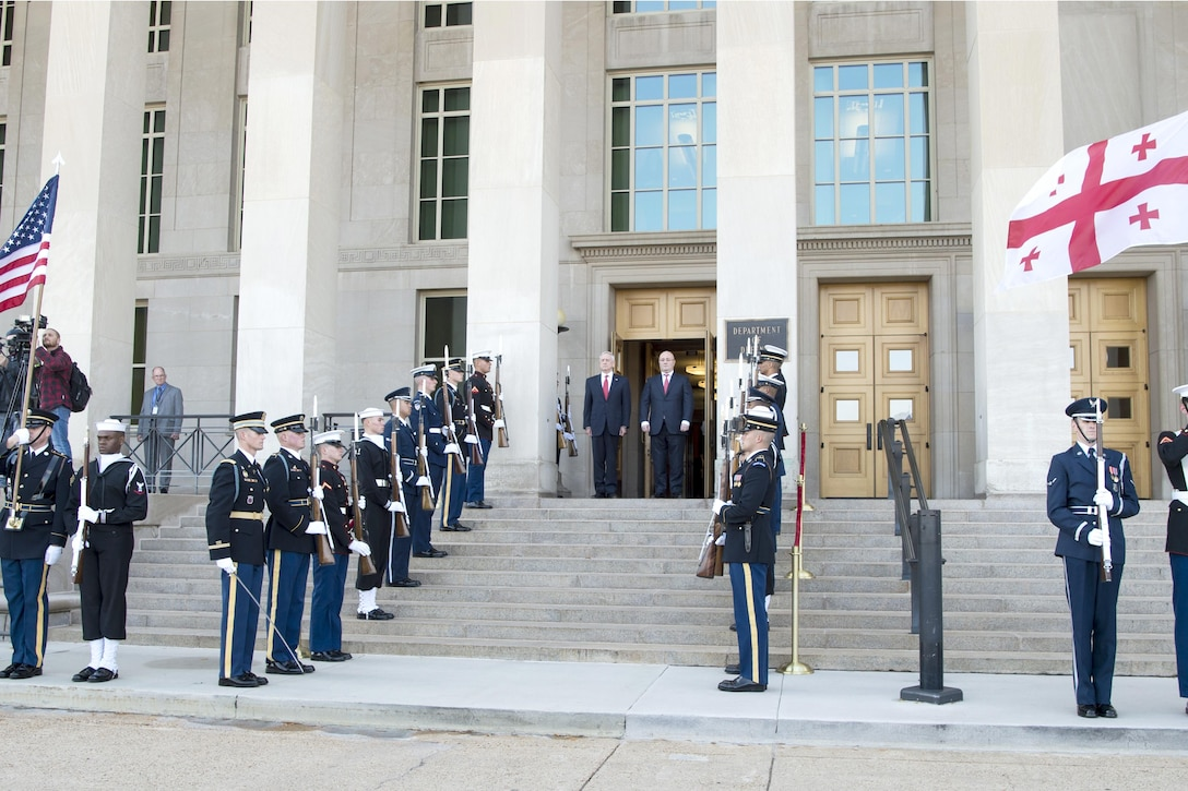 Defense Secretary Jim Mattis and the Georgian defense minister stand together at the Pentagon.