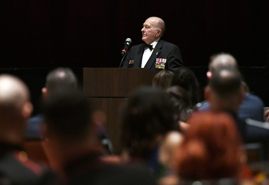 U.S. Marine Corps retired 1st Sgt. Harry O. Blake, Jr., delivers remarks during the 242nd Marine Corps Birthday Ball at the Golden Nugget Casino Nov. 10, 2017, in Biloxi, Mississippi. More than 300 service members and guests attended the Keesler Marine Detachment-hosted event. (U.S. Air Force photo by Kemberly Groue)