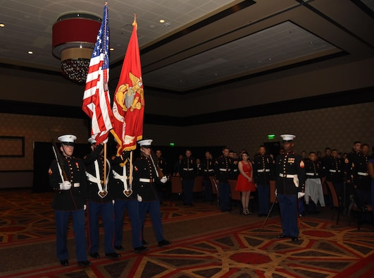 Marines from the Keesler Marine Detachment present the colors during the 242nd Marine Corps Birthday Ball at the Golden Nugget Casino Nov. 10, 2017, in Biloxi, Mississippi. More than 300 service members and guests attended the Keesler Marine Detachment-hosted event. (U.S. Air Force photo by Kemberly Groue)