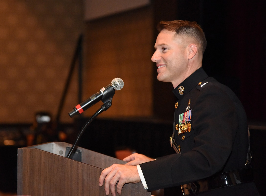 Capt. Gary Baxter, Keesler Marine Detachment commanding officer, delivers remarks during the 242nd Marine Corps Birthday Ball at the Golden Nugget Casino Nov. 10, 2017, in Biloxi, Mississippi. More than 300 service members and guests attended the Keesler Marine Detachment-hosted event. (U.S. Air Force photo by Kemberly Groue)