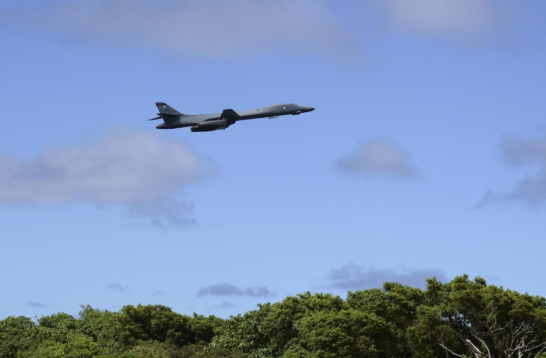 A U.S. Air Force B-1B Lancer assigned to the 37th Expeditionary Bomb Squadron, deployed from Ellsworth Air Force Base, South Dakota, takes off from Andersen AFB, Guam for a mission flying in the Western Pacific, Nov. 13, 2017