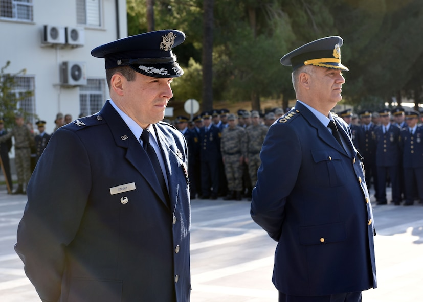 U.S. Air Force Col. Michael Rimsky, 39th Air Base Wing vice commander, stands with Turkish Air Force Col. Kursad Yildiz, wing commander of the 10th Tanker Base, during a ceremony at Incirlik Air Base, Turkey, Nov. 10, 2017.