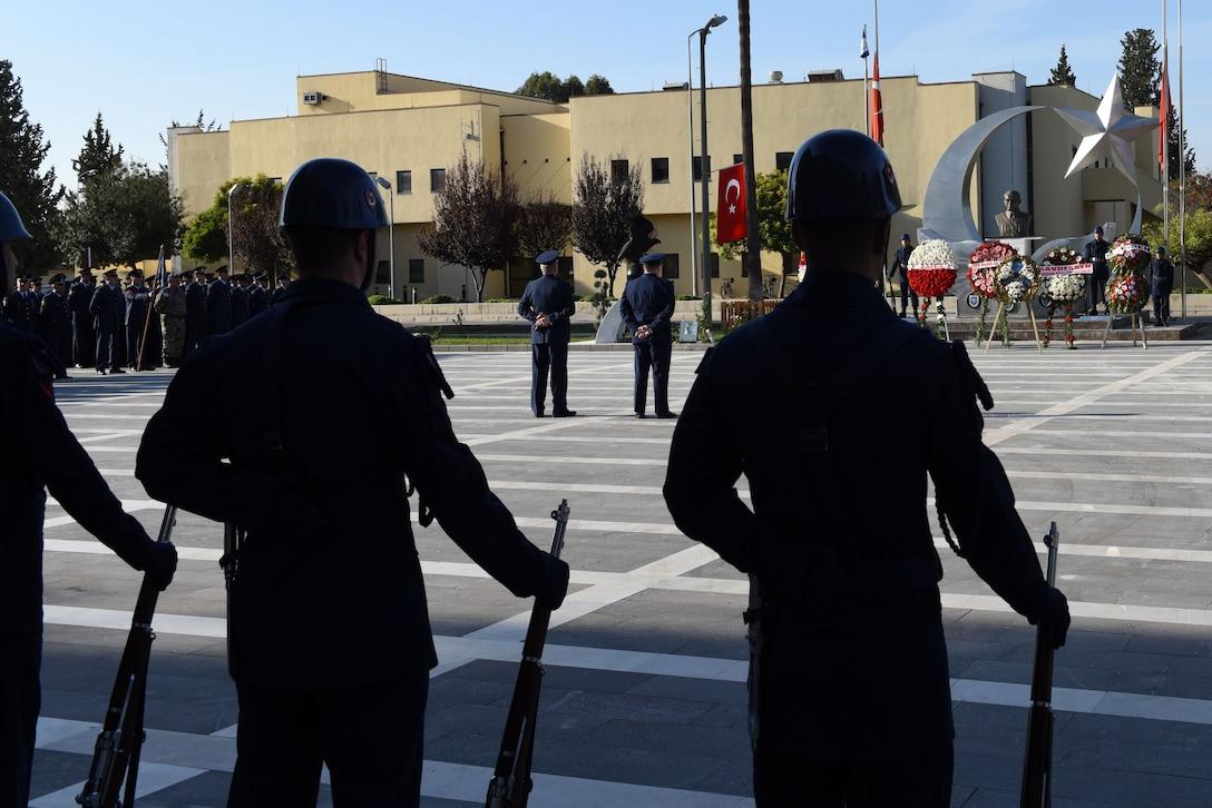 Turkish honor guard members stand in a ceremony to commemorate the life of Mustafa Kemal Ataturk at Incirlik Air Base, Turkey, Nov.10, 2017.