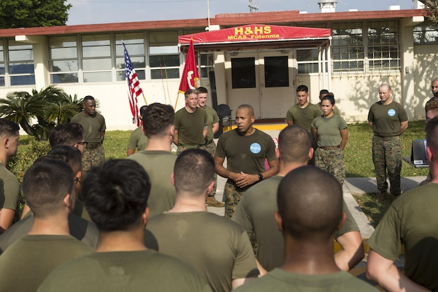MCAS FUTENMA, OKINAWA, Japan— Sgt. Maj. Clement Pearson gives a motivational speech after the 242-mile Birthday Run on Marine Corps Air Station Futenma, Okinawa, Japan.