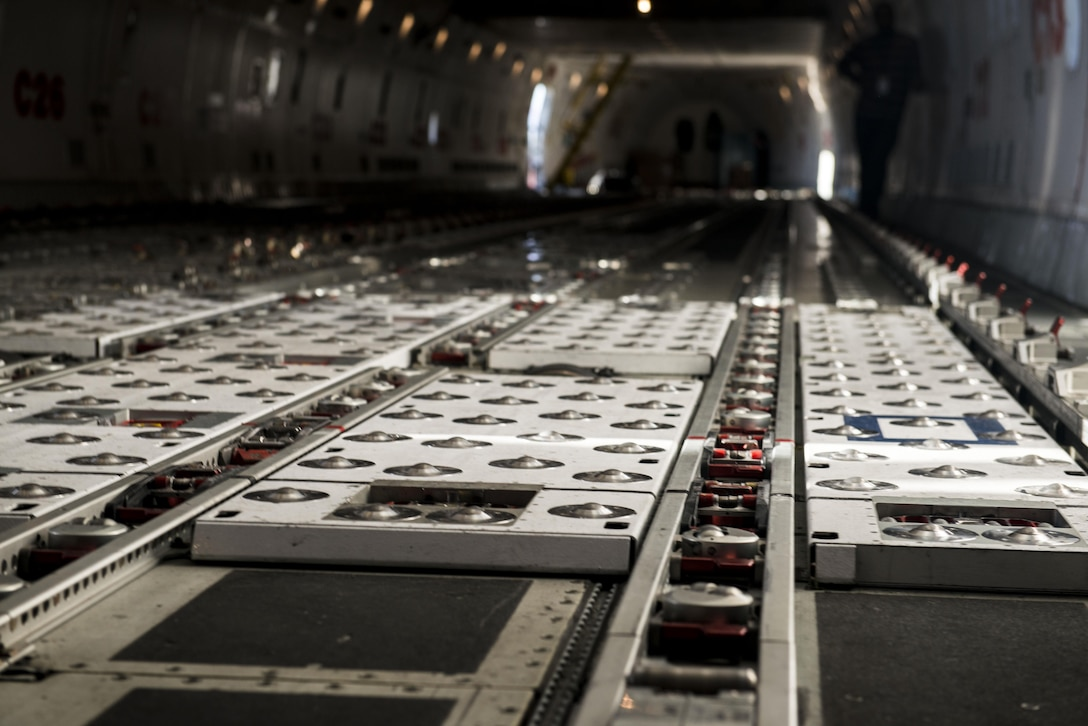 The floor of a Boeing 747 is empty prior to being loaded at Shaw Air Force Base, South Carolina, Nov. 1, 2017.