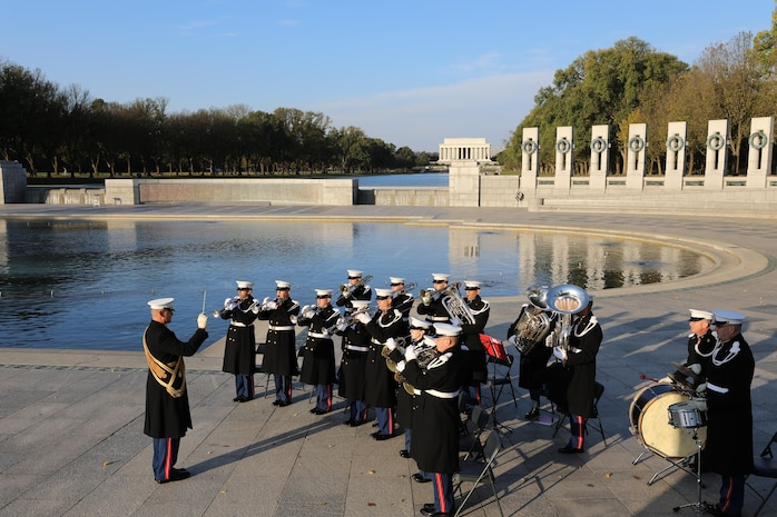 On Nov. 10, 2017, the U.S. Marine Band and the Ceremonial Escort from Marine Barracks Washington participated in a wreath-laying ceremony in honor of the Marine Corps' 242nd birthday at the National World War II Memorial in Washington, D.C. (U.S. Marine Corps photo by Master Sgt. Amanda Simmons/released)