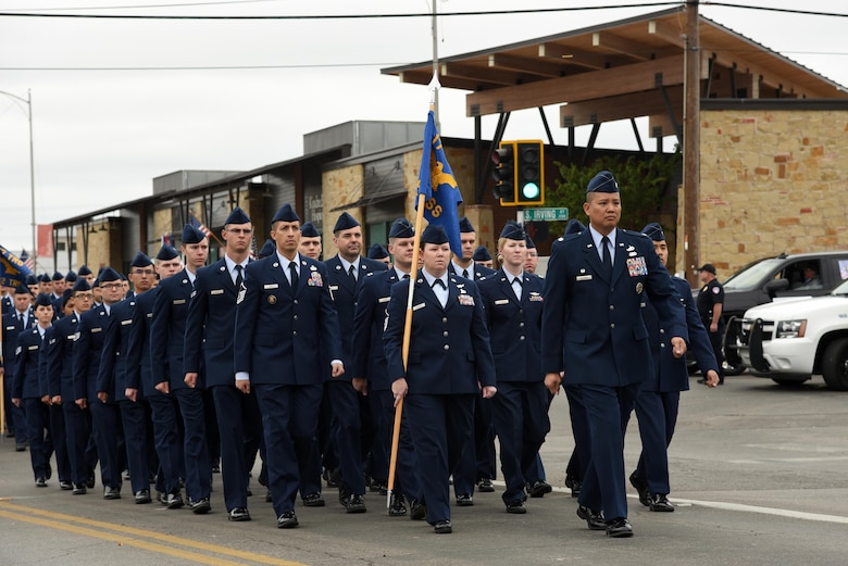 U.S. Air Force Lt. Col. Abraham Salomon, 17th Training Support Squadron commander, leads his formation in San Angelo's Veteran's Day Parade Nov. 11, 2017, San Angelo, Texas.